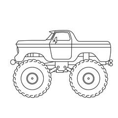 Flat style line art Monster Truck illustration