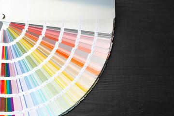 Color palette samples on black background, closeup