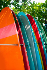 Colorful surfboards in shadows