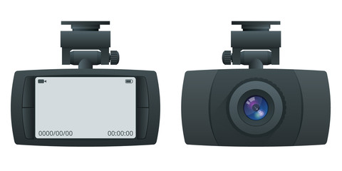 Car DVR Portable Mobile DVR Video Camera Camcorder with LCD Screen installed on the windscreen isolated on white background
