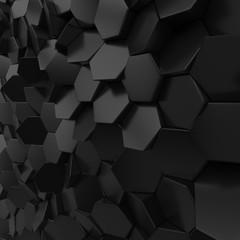 Black metallic abstract hexagon backdrop