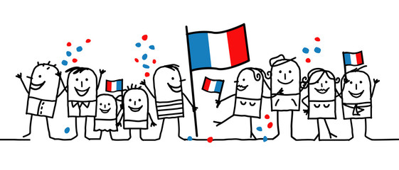 Cartoon people - national french day Fotobehang