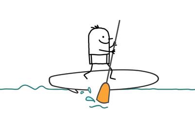 Cartoon Man and Paddle on the Sea