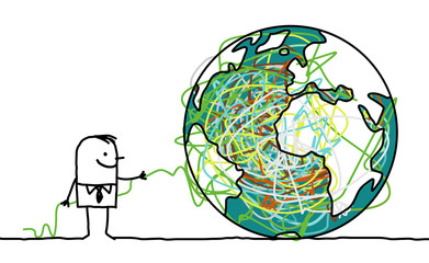 Cartoon man untangling the earth