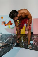 Painter preparing canvas