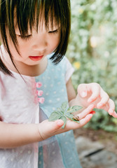 Asian little girl with a snail on hand