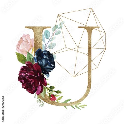 Floral Alphabet Letter U With Flowers Bouquet Composition And
