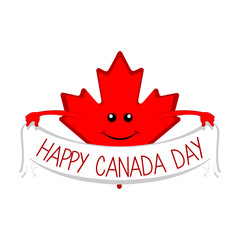 Maple leaf holding a ribbon. Canada day