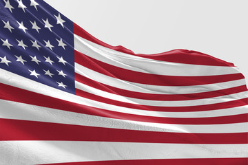Isolated United State of America Flag waving 3d Realistic fabric