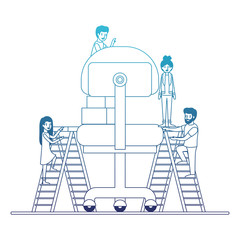 minipeople team working in office chair vector illustration design