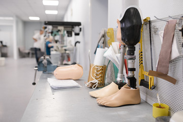 Workshop desktop with artificial limb