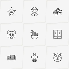 Japan line icon set with panda, japanese lamp and japanese sandals