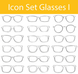 Drawn Doodle Lined Icon Set Glasses I