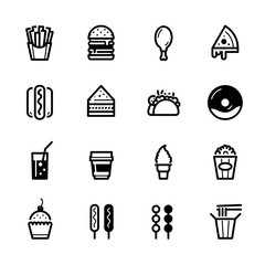 Fast Food icons with White Background