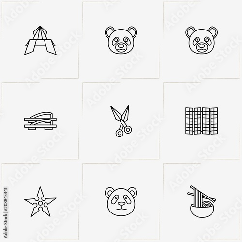 Japan Line Icon Set With Ninja Darts Japanese Noodles And Panda
