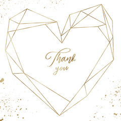 Abstract golden heart shaped polygonal geometric - vivid textured geometric frame, for wedding stationary, greetings, wallpapers, fashion, background. Golden confetti splashes in the corners.