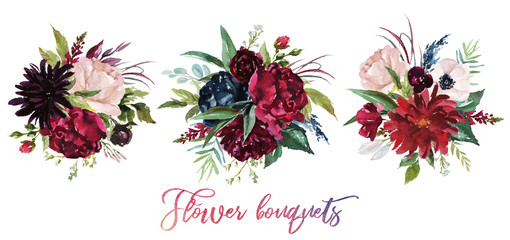 Watercolor floral illustration - set of 3 burgundy bouquets for wedding stationary, greetings, wallpapers, fashion, background. Peony, dahlia, rose, anemone, eucalyptus, olive, green leaves, etc.