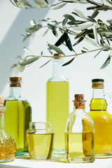 various bottles of aromatic olive oil, branches and jar on white table