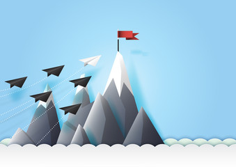Business teamwork and leadership concept with paper airplanes reach the red flag target.Paper art vector illustration.