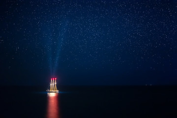 Seascape with Glowing Ship Under a Starry Sky