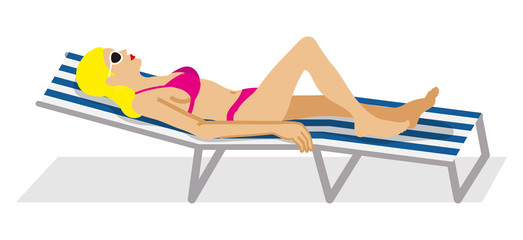 Woman lying down on the Deck Chair - side view