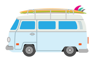 Old fashioned Mini Van loading surfboards