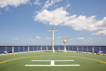 Helicopter pad on a ship at sea