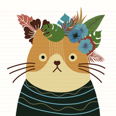 Cat with a floral crown made out of different flowers