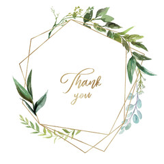 Watercolor floral illustration - leaf wreath / frame with gold geometric shape, for wedding stationary, greetings, wallpapers, fashion, background. Eucalyptus, olive, green leaves, etc.