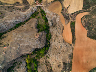 Aerial shoot of Caracena town, Soria, Spain.
