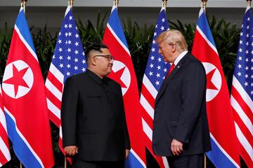 U.S. President Donald Trump and North Korea's leader Kim Jong Un meet at the Capella Hotel on the resort island of Sentosa, Singapore