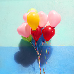 Colorful balloons with blue background