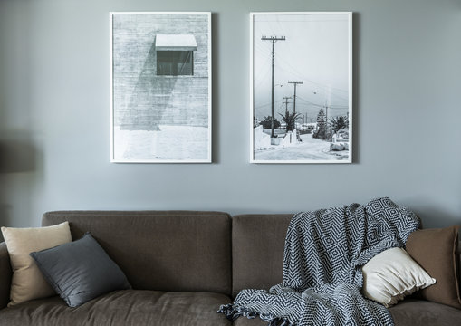 Sofa, wall art in modern living room