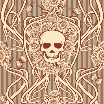 Seamless pattern  with skull in art nouveau style, vector illustration