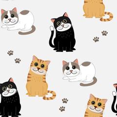 Cute cat seamless pattern. Kitten character. Animal cartoon background.
