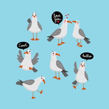 Seagull vector.. Bird character. Cute cartoon.