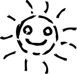 Black Hand-painted sun illustration