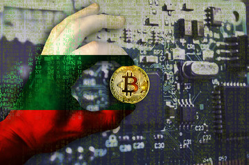 Bitcoin crypto currency Bulgaria flag Binary code Golden Coin of Bitcoin in the Republic of Bulgaria flag hand between two fingers shows OK sign on a chip background with matrix effect