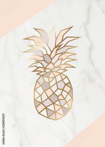 Geometric Rose Gold Pineapple Shape With Marble Background Texture Design For Packaging Wedding Card And