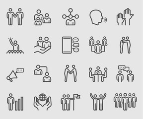 Line icons set for Team relationship, Business, Human group