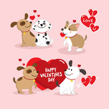 Happy Valentine's Day with cute dog vector. Animal cartoon. Puppy character and red hearts.