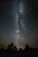 Milky way above the mountain landscape