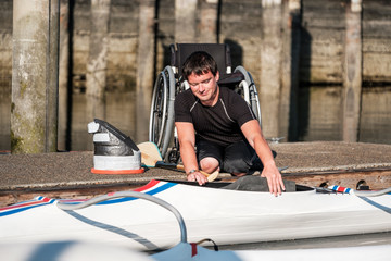 Disabled Paracanoe Athlete Training for Competition