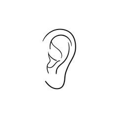 Human ear hand drawn outline doodle icon. Human ear as a concept of listening, hearing and music vector sketch illustration for print, web, mobile and infographics isolated on white background.