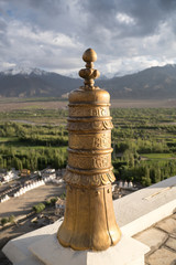 Stupa at Buddhism monastery balcony