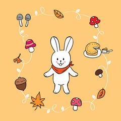 Cartoon cute rabbit and Autumn vector.