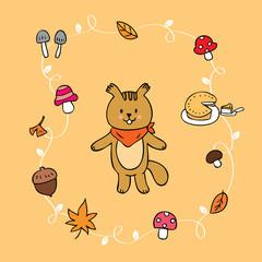 Cartoon cute squirrel and Autumn vector.