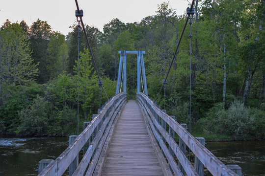 Suspension bridge on North Country Trail in Michigan's Manistee National Forest