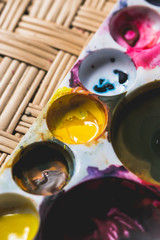 Abstract watercolours in palette