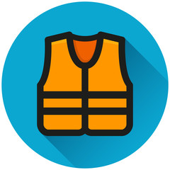 life jacket circle blue icon